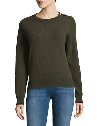 Lord & Taylor Knitted Cashmere Sweater-OLIVE HEATHER-Large
