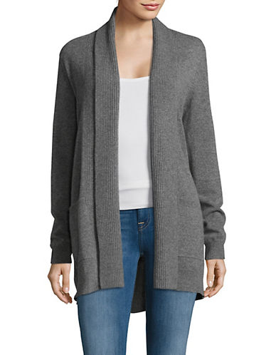 Lord & Taylor Knitted Cashmere Cardigan-PEWTER-Medium