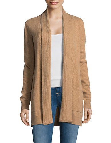 Lord & Taylor Knitted Cashmere Cardigan-CAMEL-Medium