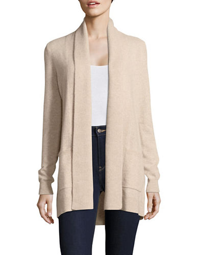 Lord & Taylor Knitted Cashmere Cardigan-STONE HEATHER-X-Large