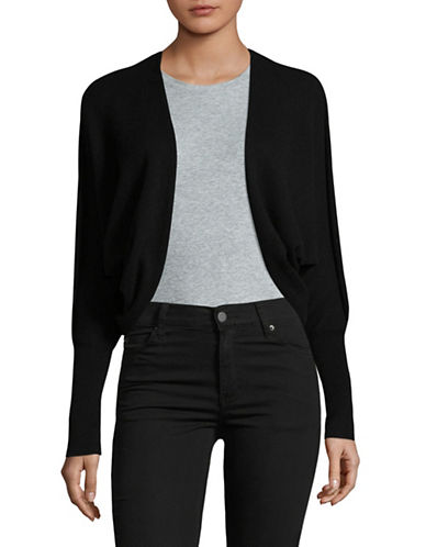 Lord & Taylor Open Front Cashmere Cardigan-EBONY-Small