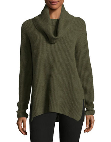 Lord & Taylor Cowl Neck Cashmere Cardigan-OLIVE HEATHER-Large