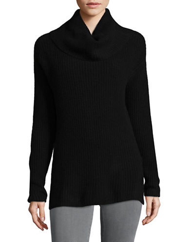 Lord & Taylor Cowl Neck Cashmere Cardigan-EBONY-Large