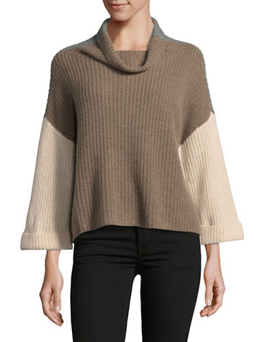 Lord & Taylor Cowl Neck Two-Tone Cashmere Cardigan-PEBBLE HEATHER-Large