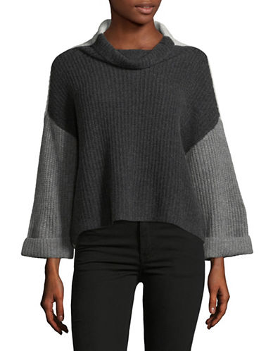 Lord & Taylor Cowl Neck Two-Tone Cashmere Cardigan-CHARCOAL HEATHER-Large