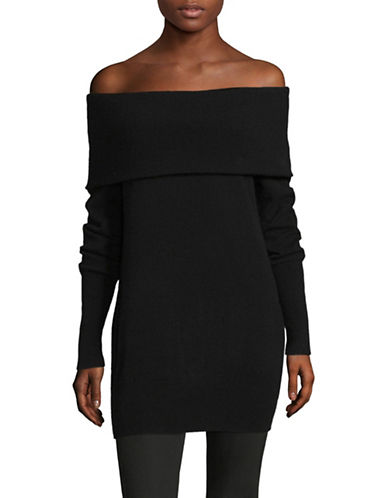 Lord & Taylor Off-The-Shoulder Cashmere Sweater-EBONY-Large