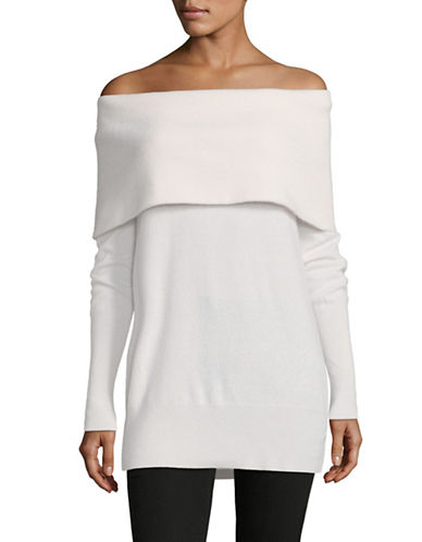 Lord & Taylor Off-The-Shoulder Cashmere Sweater-IVORY-X-Small
