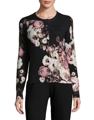 Lord & Taylor Floral-Printed Cashmere Cardigan-EBONY MULTI-X-Large