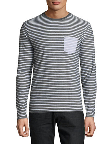 Black Brown 1826 Striped Crew Neck Top-BLUE-X-Large