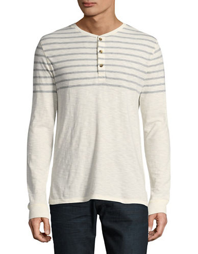 Black Brown 1826 Stripe Henley Top-WHITE-Small