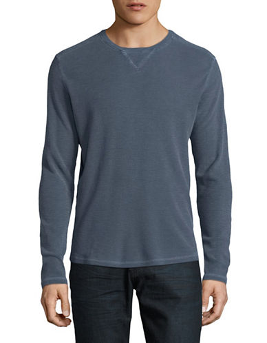 Black Brown 1826 Long Sleeve Crew Neck Top-BLUE-Small