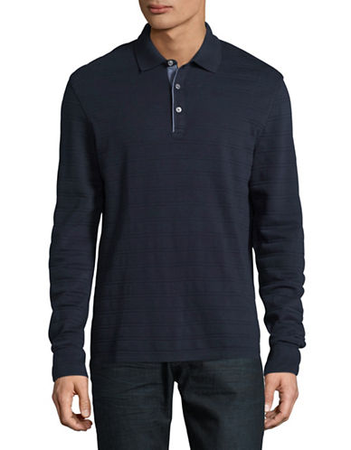 Black Brown 1826 Robbed Cotton Knit Polo-NAVY-Small