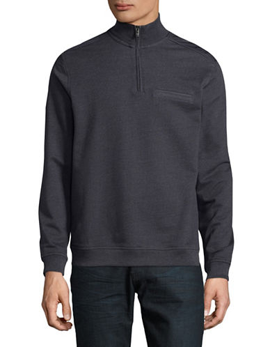 Black Brown 1826 Quarter Zip Sweatshirt-NAVY-Medium