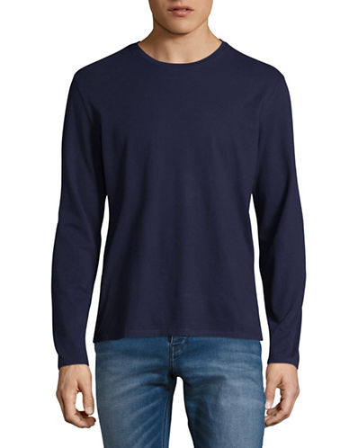 Black Brown 1826 Long Sleeve Supersoft Cotton Jersey Top-NAVY-Medium