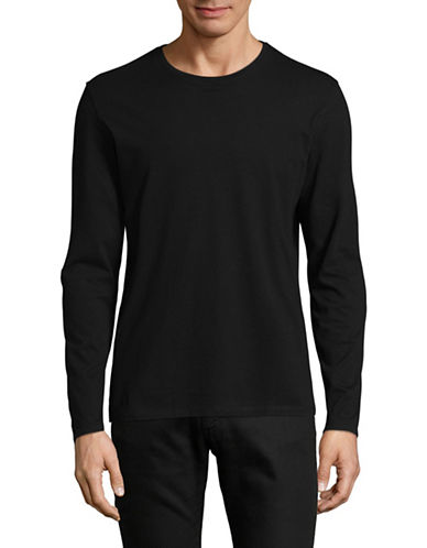 Black Brown 1826 Long Sleeve Supersoft Cotton Jersey Top-BLACK-Large