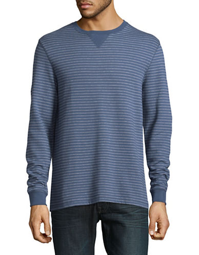 Black Brown 1826 Striped Waffle Cotton Sweater-INDIGO-Large