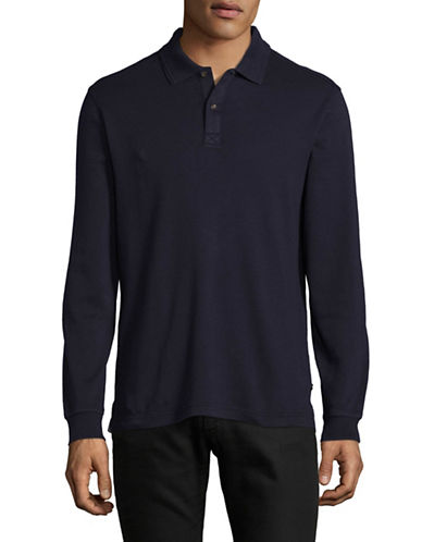 Black Brown 1826 Interlock Cotton Polo-NIGHT SKY-Small
