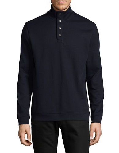 Black Brown 1826 Flat Back Ribbed Quarter-Button Pullover-BLUE-Small