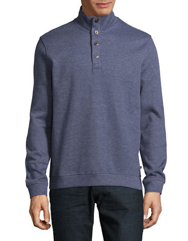 Black Brown 1826 Flat Back Ribbed Quarter-Button Pullover-LIGHT BLUE-Large