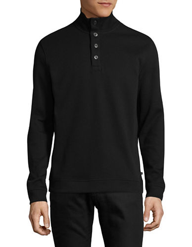 Black Brown 1826 Flat Back Ribbed Quarter-Button Pullover-BLACK-Large