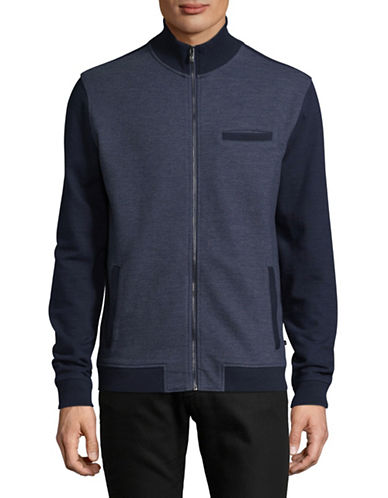 Black Brown 1826 Colourblock Zip Jacket-NAVY-Small
