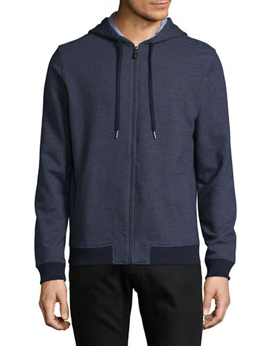 Black Brown 1826 Woven Zip Hoodie-NAVY-Large