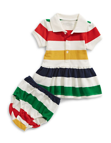 HudsonS Bay Company Baby Multistripe Pique Dress and Bloomers Set-MULTI-COLOURED-6-12 Months