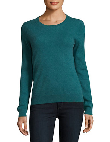 Lord & Taylor Crew Neck Cashmere Sweater-TURQUOISE-Large