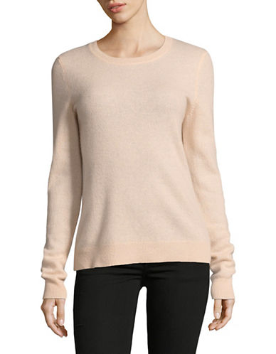 Lord & Taylor Crew Neck Cashmere Sweater-PEACH HEATHER-Small