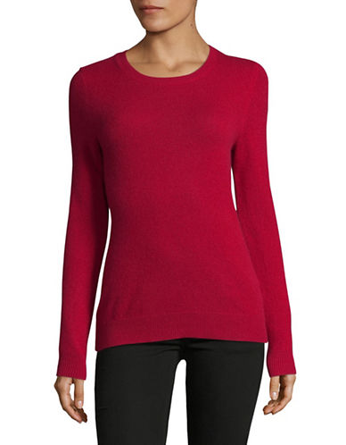 Lord & Taylor Crew Neck Cashmere Sweater-GARNET-X-Small