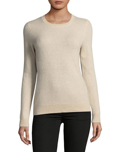 Lord & Taylor Crew Neck Cashmere Sweater-PEARL HEATHER-Medium