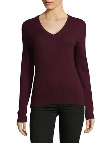 Lord & Taylor Cashmere V-Neck Sweater-BEGONIA-Large