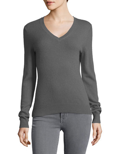Lord & Taylor Cashmere V-Neck Sweater-PEWTER HEATHER-Large