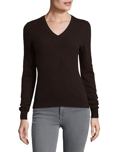 Lord & Taylor Cashmere V-Neck Sweater-BROWN HEATHER-Large