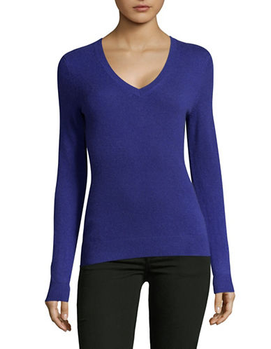 Lord & Taylor Cashmere V-Neck Sweater-PLUTO-X-Large