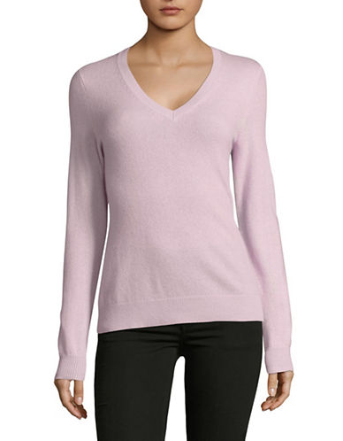 Lord & Taylor Cashmere V-Neck Sweater-VINTAGE LILAC-Small