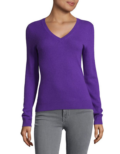 Lord & Taylor Cashmere V-Neck Sweater-VIVID PURPLE-Medium
