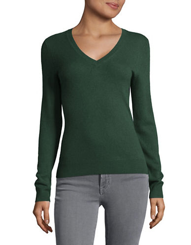 Lord & Taylor Cashmere V-Neck Sweater-NEPTUNE GREEN HEATHER-Large