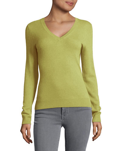 Lord & Taylor Cashmere V-Neck Sweater-APPLE HEATHER-Large