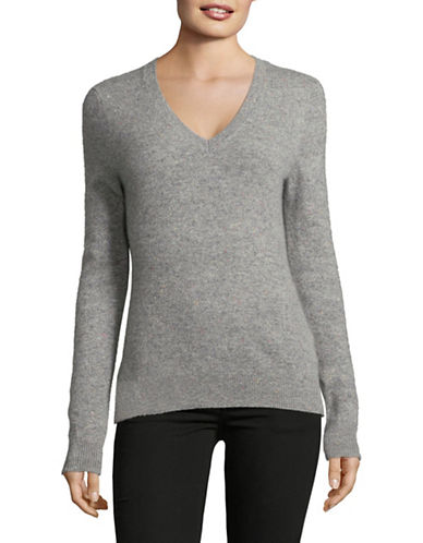 Lord & Taylor Cashmere V-Neck Sweater-CONFETTI TWEED-Medium