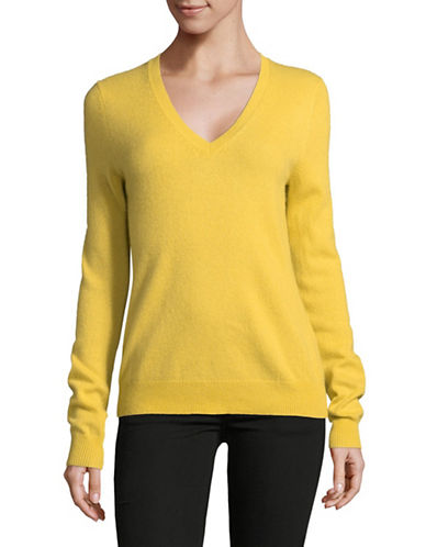 Lord & Taylor Cashmere V-Neck Sweater-BAMBOO-Large
