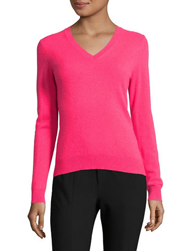 Lord & Taylor Cashmere V-Neck Sweater-SUNSET PINK-Small