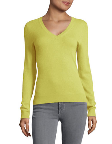 Lord & Taylor Cashmere V-Neck Sweater-BRIGHT CELADON-Large