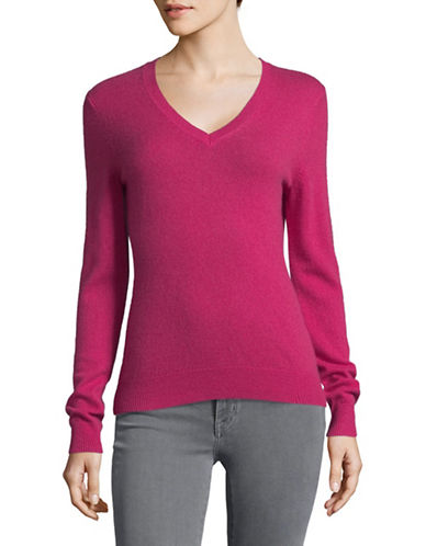 Lord & Taylor Cashmere V-Neck Sweater-RASBERRY PINK-Small