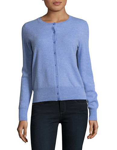 Lord & Taylor Cashmere Cardigan-GLACIER-Medium
