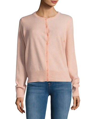 Lord & Taylor Cashmere Cardigan-PEACH HEATHER-Medium