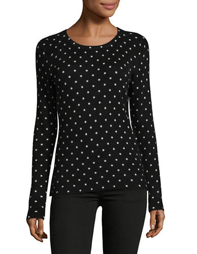 Lord & Taylor Polka Dot Sweater-EBONY-Large