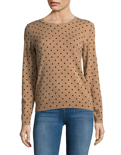 Lord & Taylor Polka Dot Sweater-CAMEL HEATHER-Small
