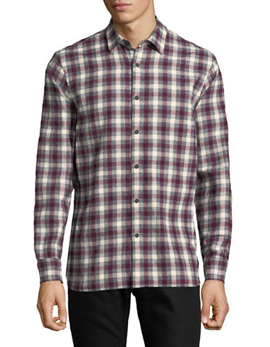 Black Brown 1826 Gingham Cotton Sportshirt-RED-XXX-Large