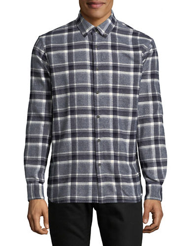 Black Brown 1826 Plaid Cotton Sportshirt-GREY-Small